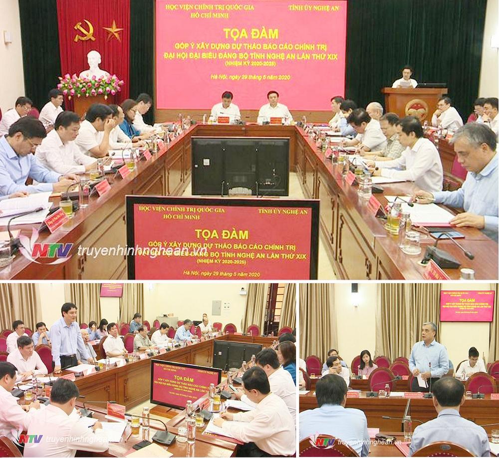 Ban Thường vụ Tỉnh ủy Nghệ An phối hợp với Học viện Chính trị Quốc gia Hồ Chí Minh tổ chức Tọa đàm góp ý xây dựng dự thảo Báo cáo chính trị Đại hội đại biểu Đảng bộ tỉnh Nghệ An lần thứ XIX, nhiệm kỳ 2020 - 2025, tại Hà Nội.
