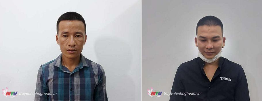 Hai đối tượng Nguyễn Hữu Nam (trái) và Bùi Văn Cường (phải)                   tại cơ quan công an
