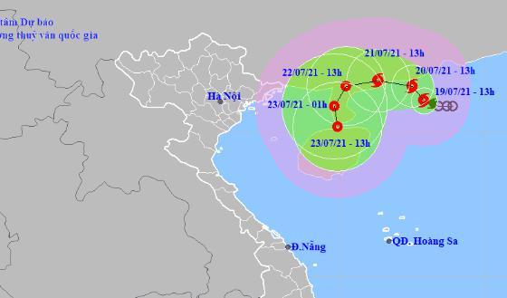 Dự báo hướng di chuyển của bão số 3.