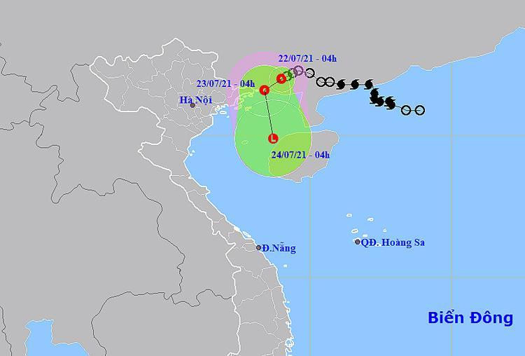 Vị trítâm áp thấp nhiệt đới. Nguồn:NCHMF