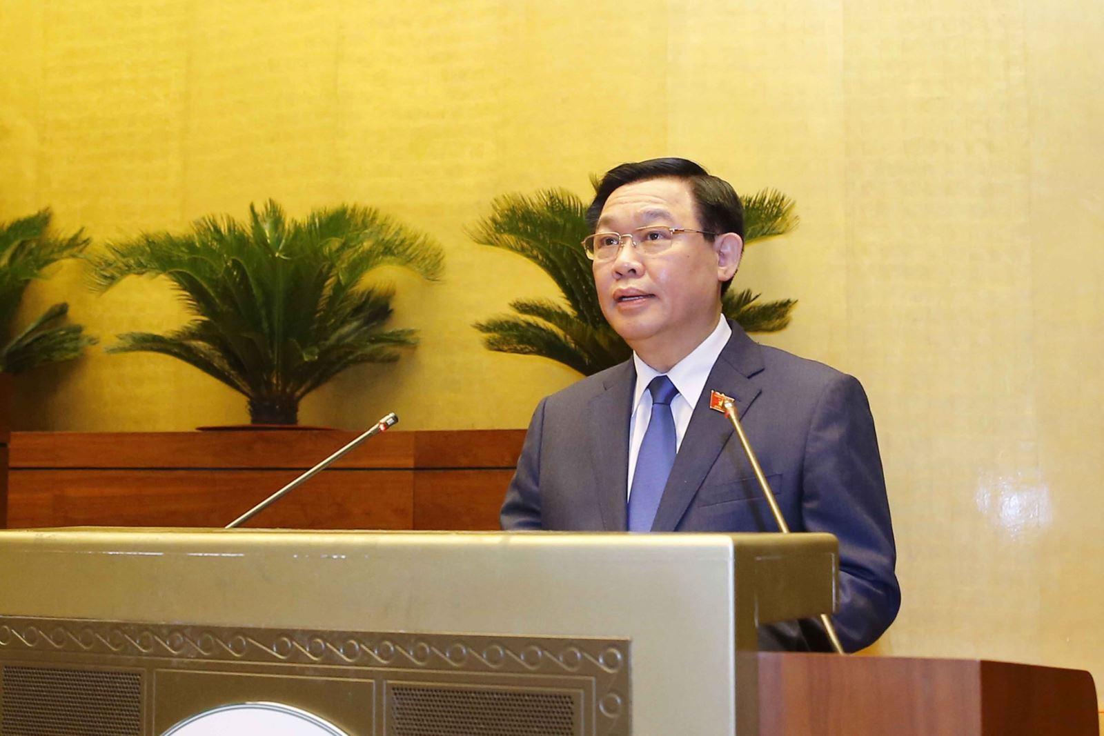 Chủ tịch Quốc hội khóa XV Vương Đình Huệ phát biểu sau khi tuyên thệ nhậm chức.