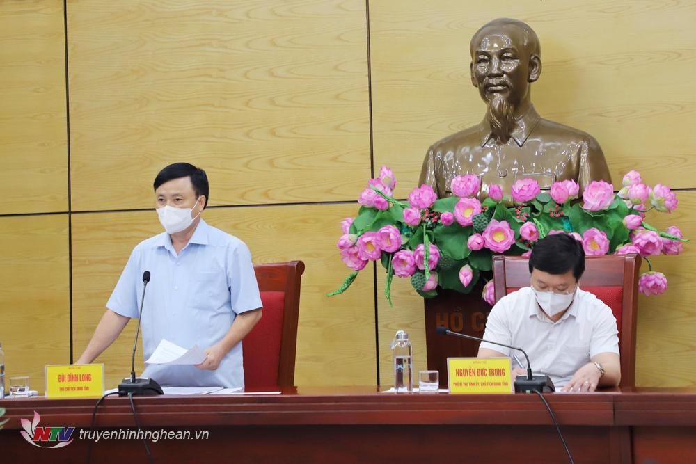Phó Chủ tịch UBND tỉnh Bùi Đình Long phát biểu ý kiến tại cuộc họp.