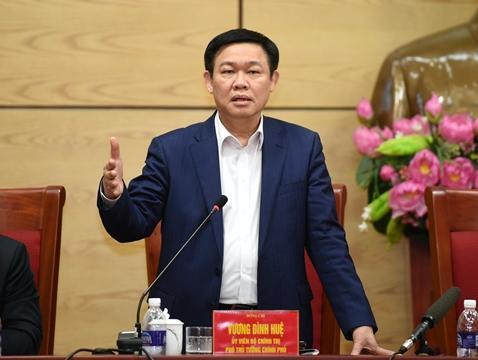 Phó Thủ tướng Vương Đình Huệ phát biểu tại cuộc họp.