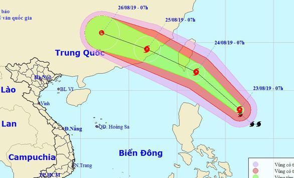 Dự báo hướng đi bão Bailu - Ảnh: Trung tâm Dự báo khí tượng thủy văn Quốc gia.