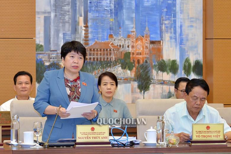 Bà Nguyễn Thúy Anh - Chủ nhiệm Ủy ban Về các vấn đề xã hội trình bày báo cáo, sáng 14/8.