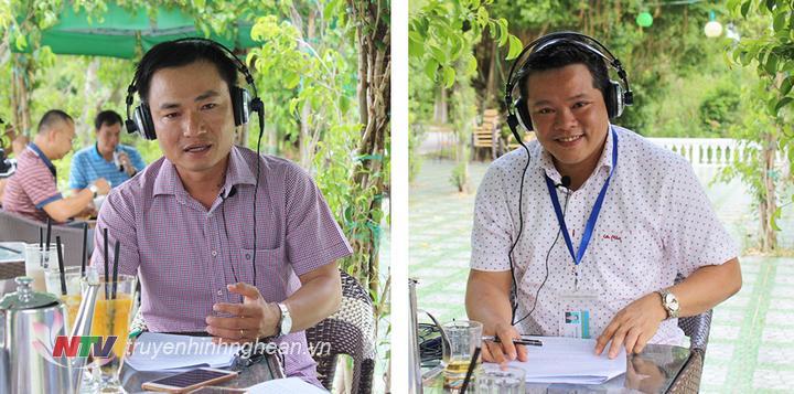 Host Thế Anh (VOH) và Host Nguyễn Hưng (Đài PT-TH Nghệ An) dẫn dắt chương trình tại điểm cầu Nghệ An.