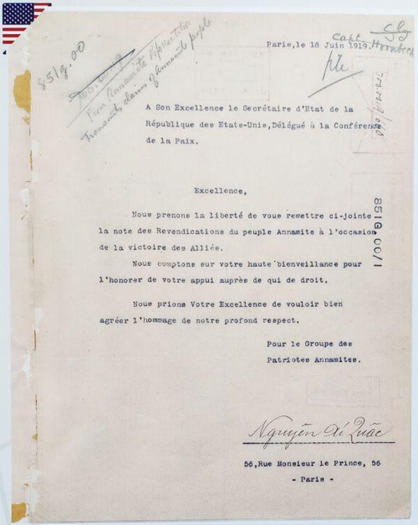 Thư của Nguyễn Ái Quốc gửi Ngoại trưởng Hoa Kỳ Robert Lansing ngày 18/6/1919. Tài liệu: Lưu trữ Quốc gia Hoa Kỳ