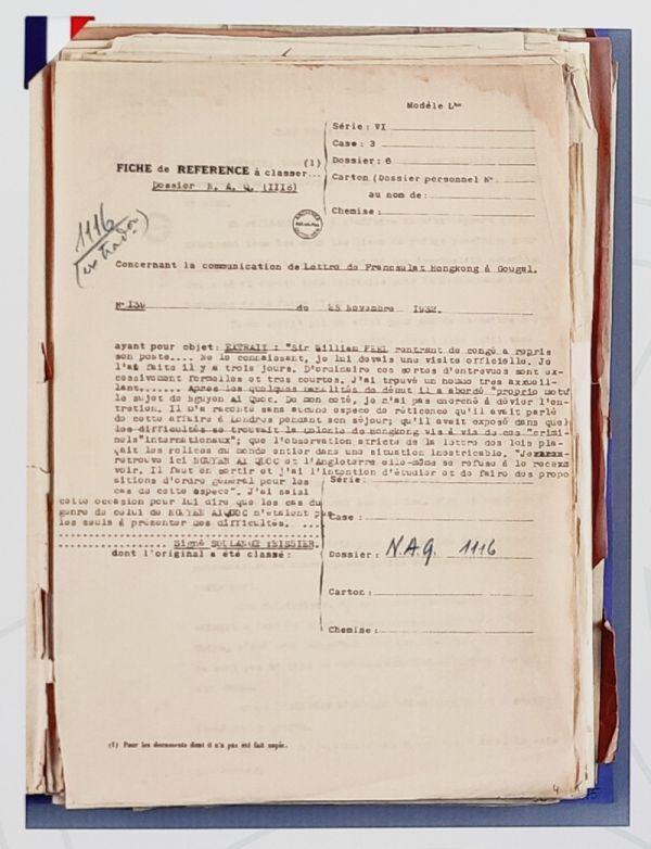 Lãnh sự Pháp tại Hong Kong Soulange Teissier đã gửi thư tới Toàn quyền Đông Dương về vấn đề Nguyễn Ái Quốc.  Tài liệu: Cơ quan Lưu trữ Quốc gia Hải Ngoại Pháp