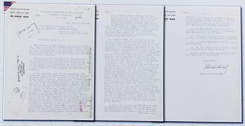 Thư của Chủ tịch Hồ Chí Minh gửi Ngoại trưởng Hoa Kỳ ngày 22/10/1945. Tài liệu:  Lưu trữ Quốc gia Hoa Kỳ