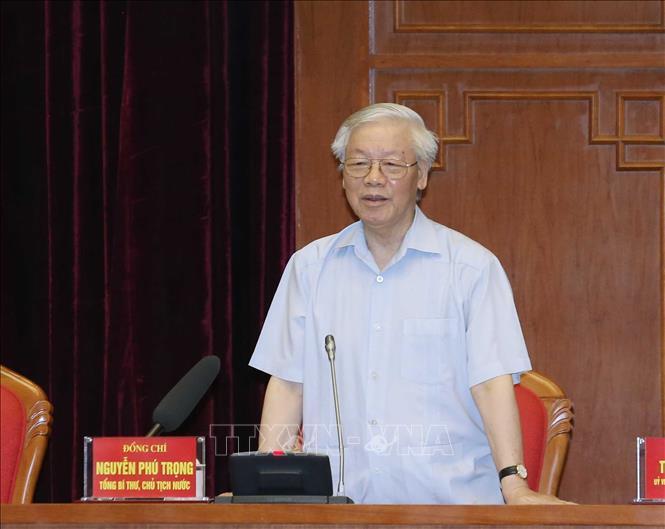   Tổng Bí thư, Chủ tịch nước Nguyễn Phú Trọng phát biểu tại buổi gặp mặt.  