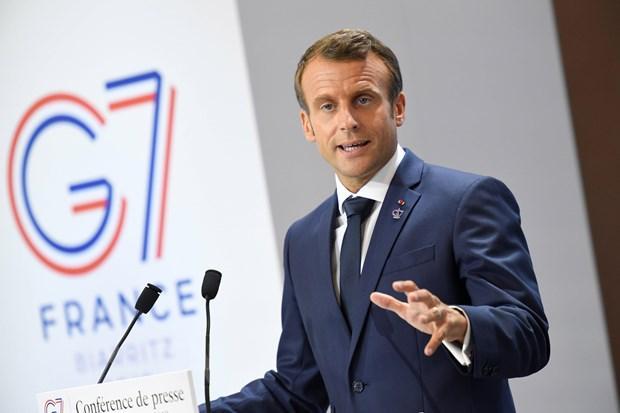 Tổng thống Pháp Emmanuel Macron trong cuộc họp báo tại Hội nghị thượng đỉnh Nhóm các nước công nghiệp phát triển nhất thế giới (G7) ở Biarritz, ngày 26/8/2019.