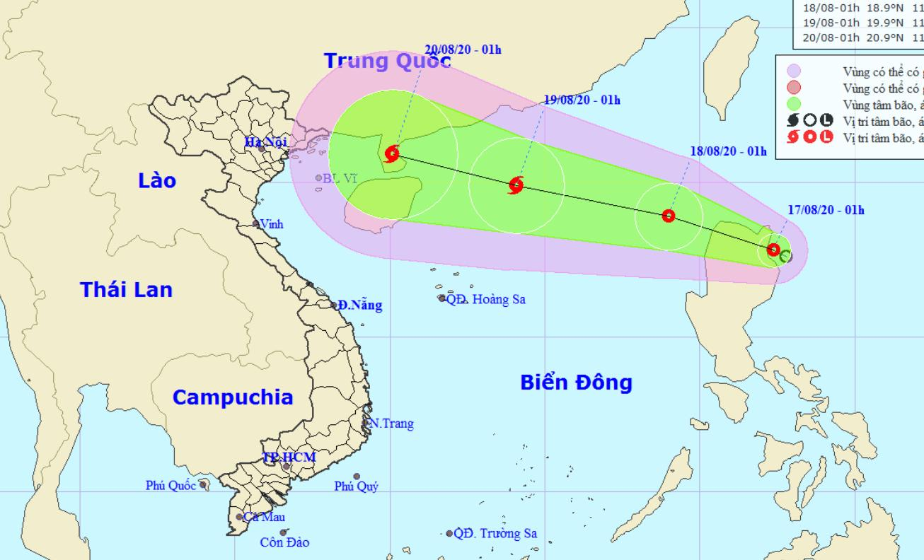 Vị trí và đường đi của áp thấp nhiệt đới. Nguồn: NCHMF