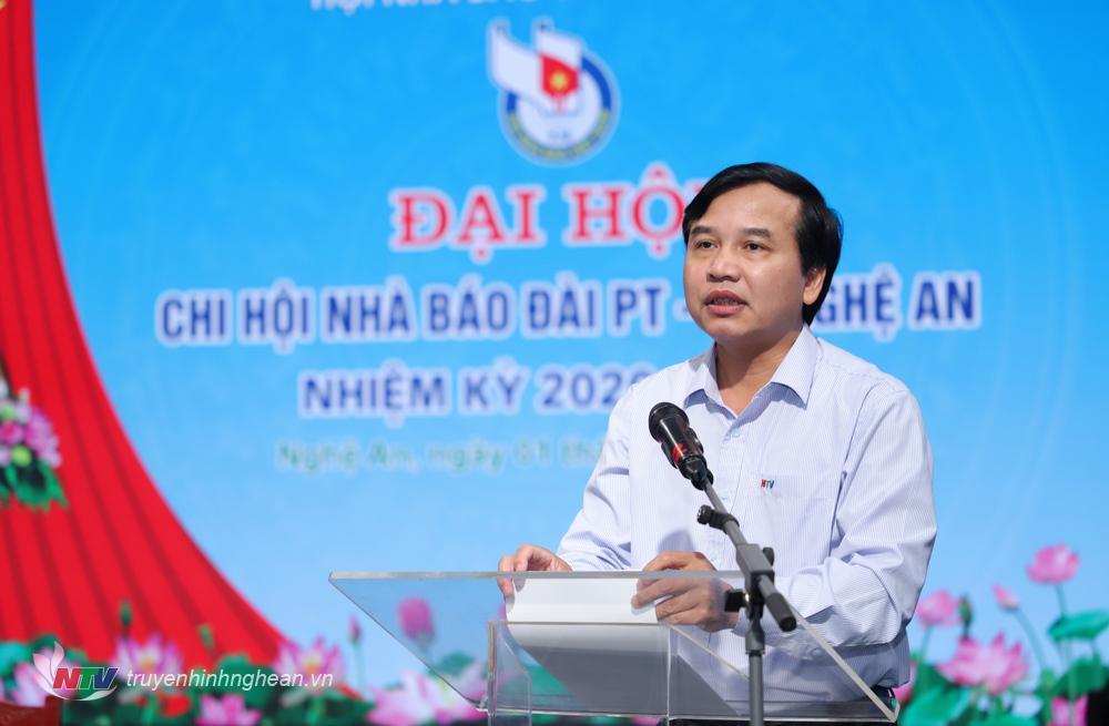 Đồng chí Nguyễn Như Khôi - Tỉnh ủy viên, Giám đốc Đài PTTH Nghệ An phát biểu tại Đại hội.