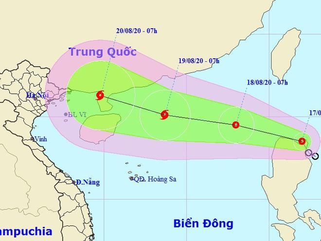 Dự báo đường đi của áp thấp nhiệt đới sau khi vào Biển Đông. Ảnh: NCHMF.