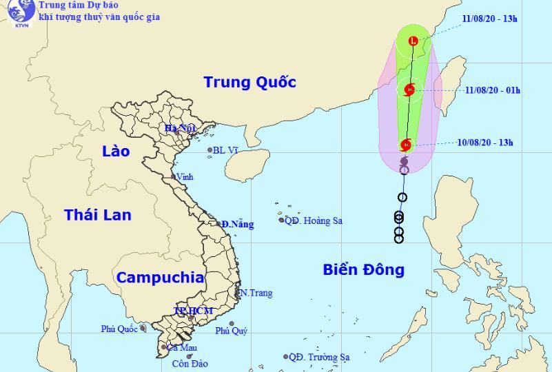 Dự báo đường đi của cơn bão số 3. Ảnh: KTVN