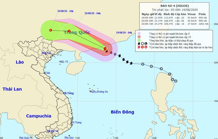 Đường đi và vị trí của bão số 4. Nguồn: NCHMF