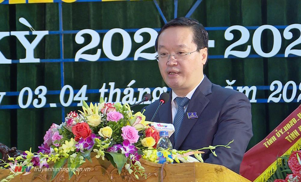 Chủ tịch UBND tỉnh Nguyễn Đức Trung phát biểu chỉ đạo tại Đại hội.