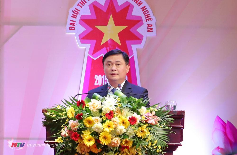 Bí thư Tỉnh uỷ Thái Thanh Quý phát biểu tại Đại hội.