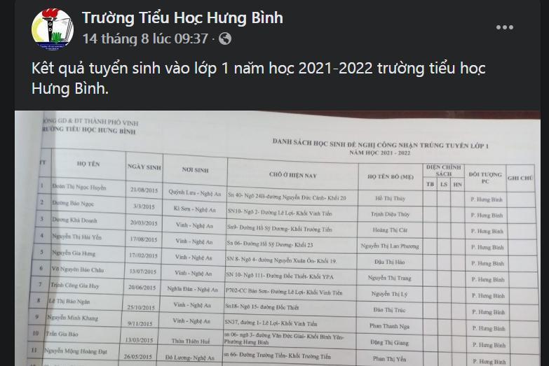 Trường Tiểu học Hưng Bình, TP Vinh công bố danh sách lớp 1 trên Facebook của trường.