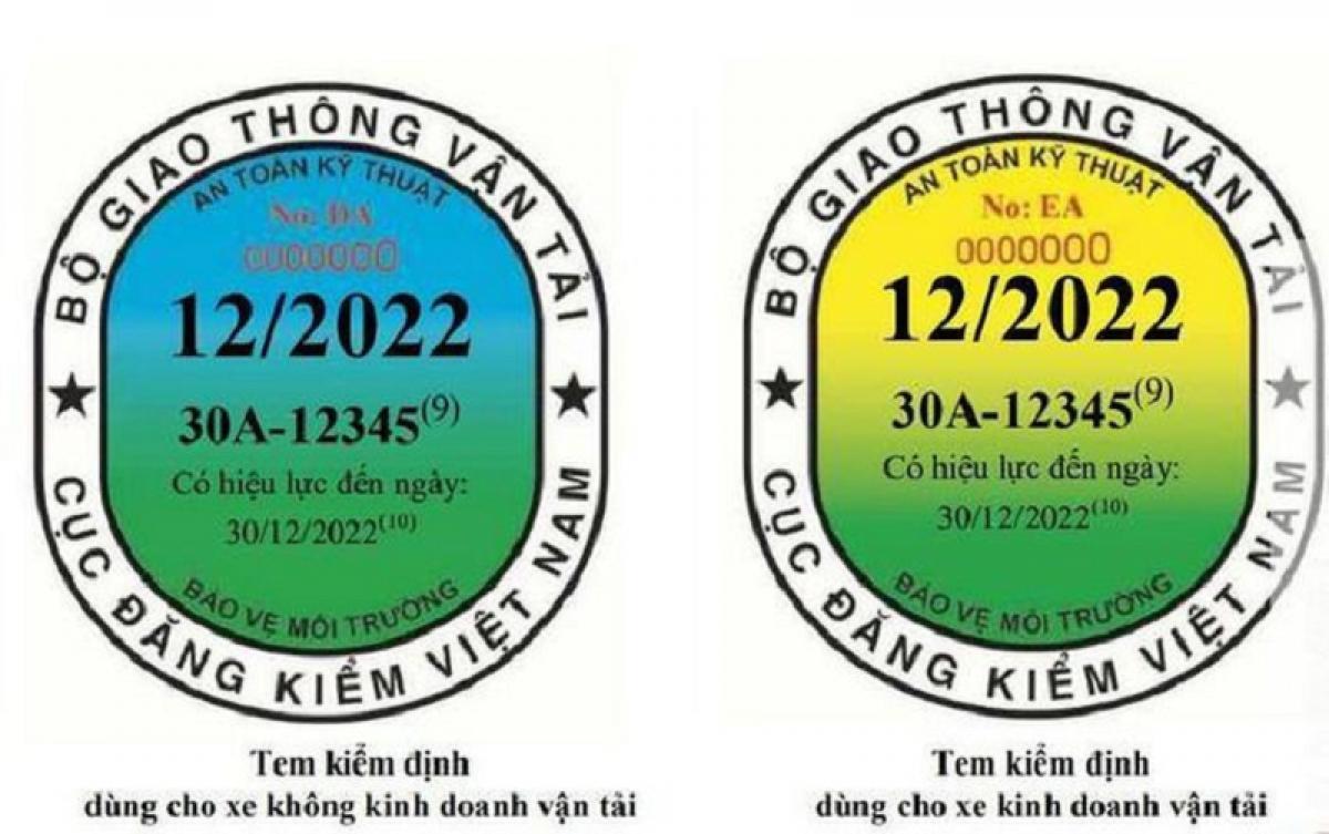 Mẫu tem kiểm định mới để phân biệt giữa ô tô có kinh doanh vận tải và ô tô không kinh doanh vận tải.