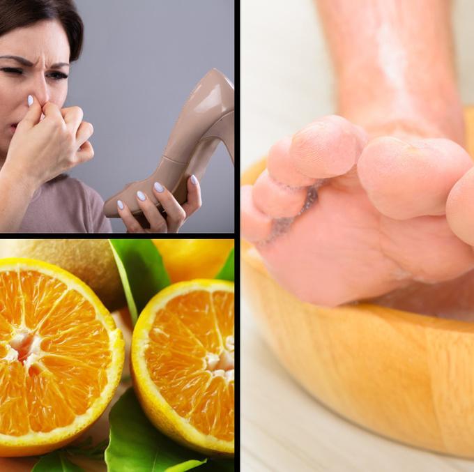 Loại bỏ mùi hôi chân   Thái lát một quả chanh và một quả cam cho vào chậu nước ấm, thêm 4 giọt tinh dầu bạc hà hoặc dầu cây trà vào chậu. Ngâm chân trong nửa tiếng mỗi tối để loại bỏ mùi hôi chân.