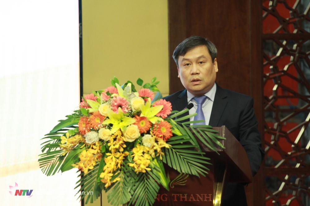 Đồng chí Vũ Đại Thắng - Ủy viên dự khuyết BCH Trung ương Đảng, Thứ trưởng Bộ Kế hoạch và Đầu tư phát biểu tại Hội nghị.