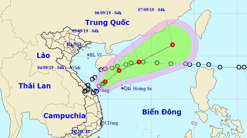 Vị trí và dự báo đường đi của áp thấp nhiệt đới. (Ảnh: TTKTTVQG)