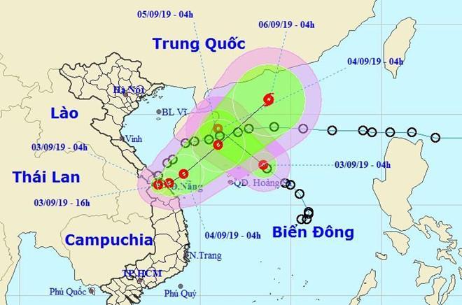 Dự báo hướng di chuyển của áp thấp nhiệt đới Kajiki và áp thấp nhiệt đới trên Biển Đông trong các ngày 3-4/9. Ảnh: NCHMF.