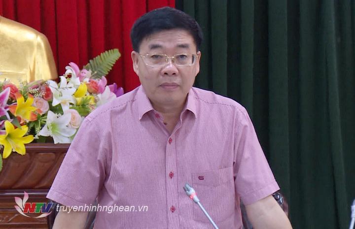 Phó Bí thư Tỉnh ủy Nguyễn Văn Thông phát biểu tại buổi làm việc.