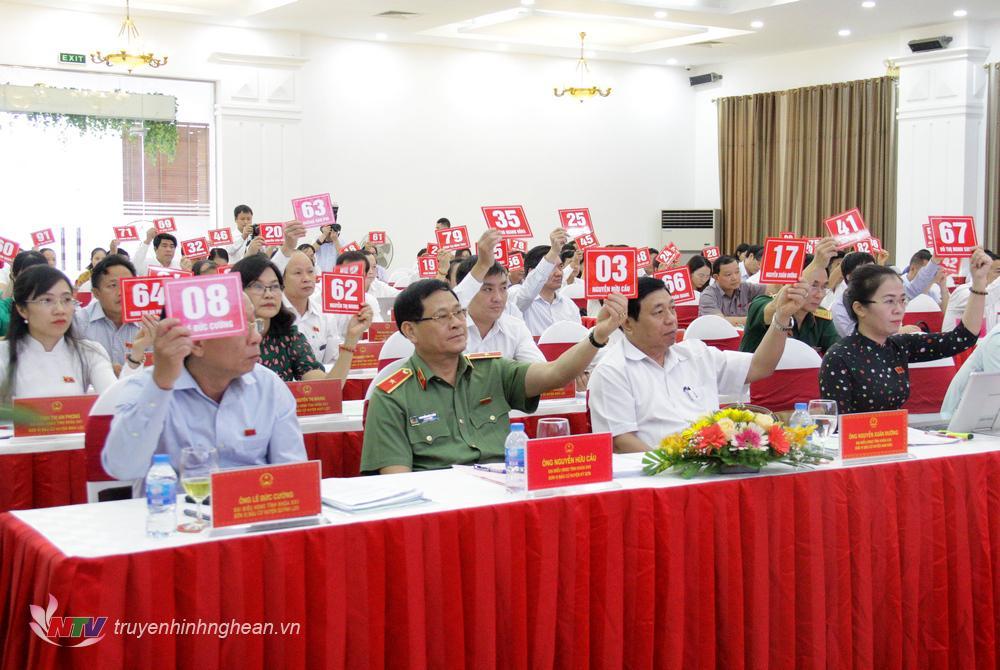 Biểu quyết thông qua NQ sắp xếp các đơn vị hành chính cấp xã trên địa bàn tỉnh Nghệ An giai đoạn 2019-2021.