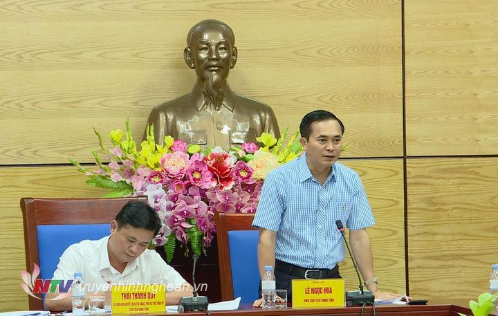 Phó Chủ tịch UBND tỉnh Lê Ngọc Hoa phát biểu tại hội nghi.