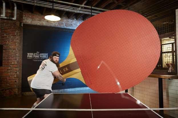 Vợt bóng bàn to nhất thế giới, với chiều cao 3,53m và chiều rộng 2,02m thuộc về Rise Brands, tại Ohio, Mỹ.