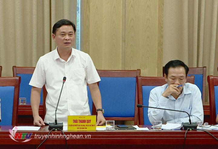 Chủ tịch UBND tỉnh Thái Thanh Quý phát biểu tại cuộc làm việc.
