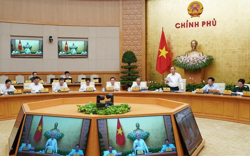 Thủ tướng Nguyễn Xuân Phúc phát biểu tại phiên họp Chính phủ thường kỳ tháng 8/2019