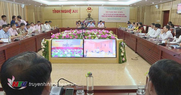 Toàn cảnh Hội nghị trực tuyến tại điểm cầu Nghệ An.