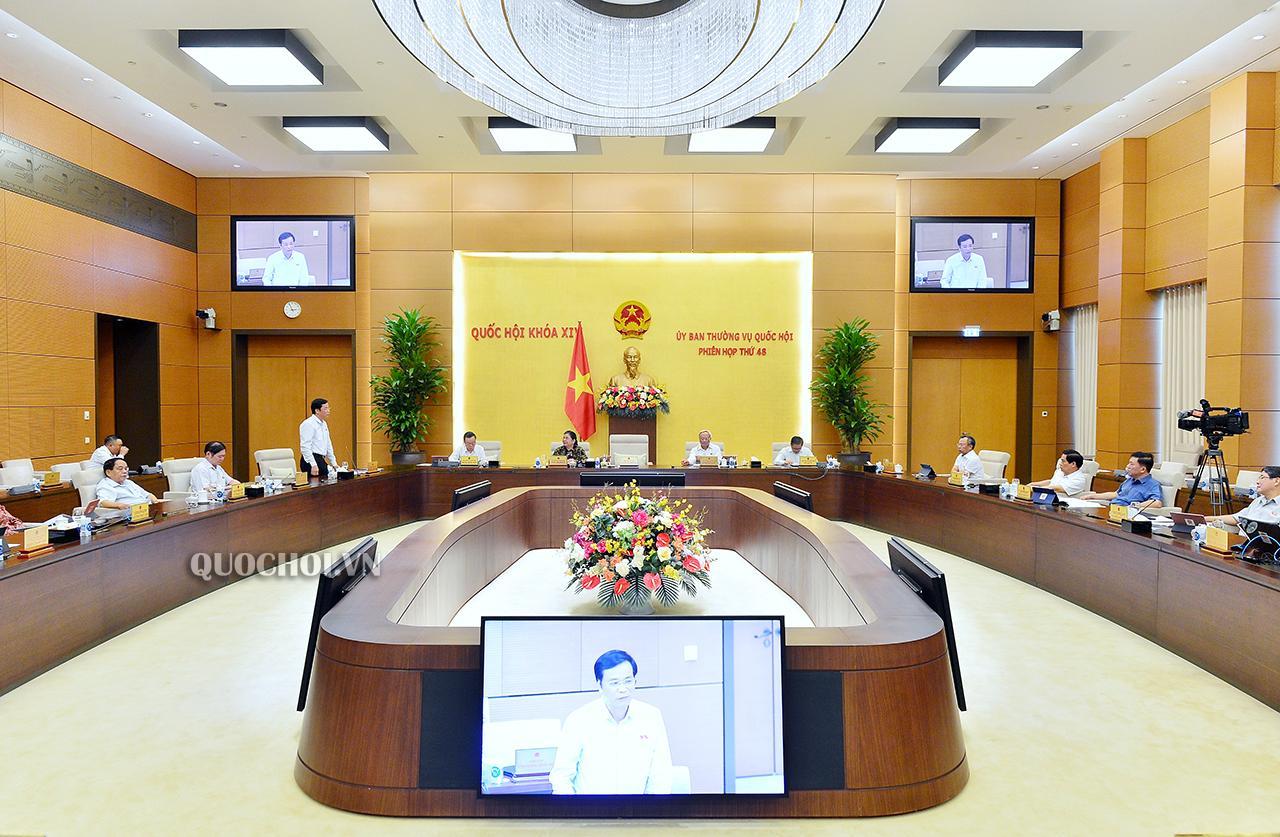 Tại phiên họp thứ 48, Ủy ban Thường vụ Quốc hội đã cho ý kiến về việc chuẩn bị Kỳ họp thứ 10 Quốc hội khóa XIV. Ảnh: Quốc hội