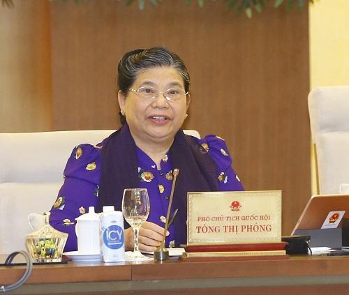 Phó Chủ tịch Thường trực Quốc hội Tòng Thị Phóng phát biểu tại phiên họp.