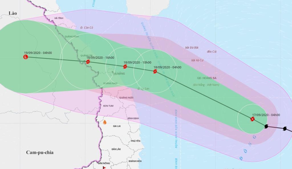 Dự báo đường đi của bão số 5 trong những giờ tới. Ảnh: Hệ thống giám sát thiên tai Việt Nam.