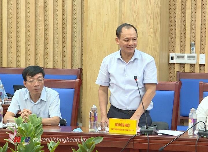 Thứ trưởng Bộ Giao thông Vận tải Nguyễn Nhật phát biểu kết luận buổi làm việc.