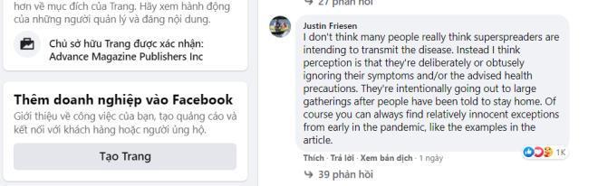 Bình luận của Justin Friesen trên Facebook nhận được 1.000 lượt thích và nhiều phản hồi đồng tình.