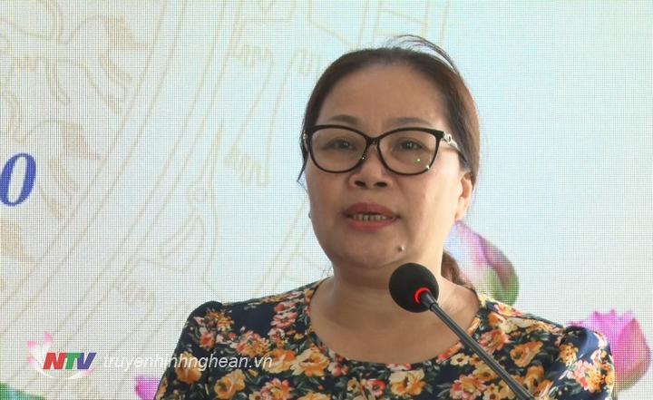 Trưởng Ban Tuyên giáo Tỉnh ủy Nguyễn Thị Thu Hường phát biểu chỉ đạo tại hội nghị.