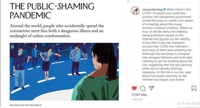 Báo The NewYorker hôm 21/9 đăng tải một bài viết về bệnh nhân mắc COVID-19 số 17 của Việt Nam trên Instagram.