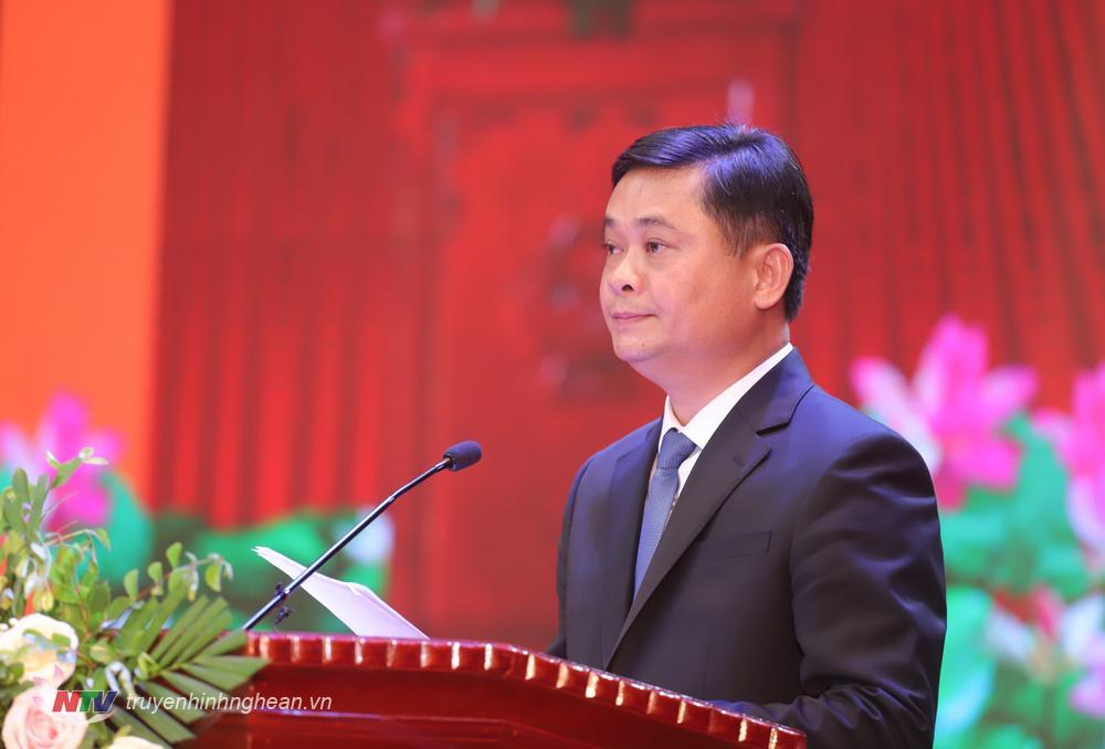 Bí thư Tỉnh uỷ Thái Thanh Quý đọc diễn văn tại lễ kỷ niệm.