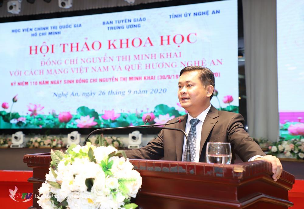 Đồng chí Thái Thanh Quý - Uỷ viên Dự khuyết TW Đảng Bí thư Tỉnh uỷ phát biểu tại hội thảo.