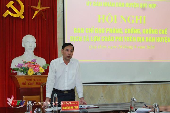 Chủ tịch UBND huyện Quỳ Hợp Nguyễn Đình Tùng phát biểu kết luận tại hội nghị.