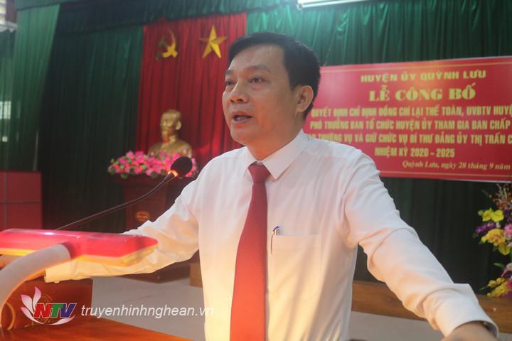 Phó bí thư thường trực huyện ủy Quỳnh Lưu Lê Xuân Kiên phát biểu giao nhiệm vụ