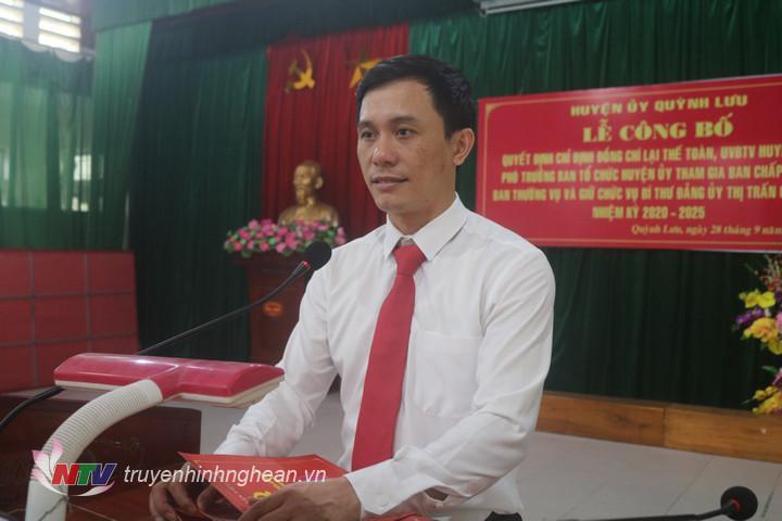 Tân Bí thư Đảng ủy TT Cầu Giát phát biểu nhận nhiệm vụ.