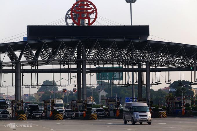 Trạm thu phí trên cao tốc Pháp Vân-Cầu Giẽ hồi tháng 8/2019.