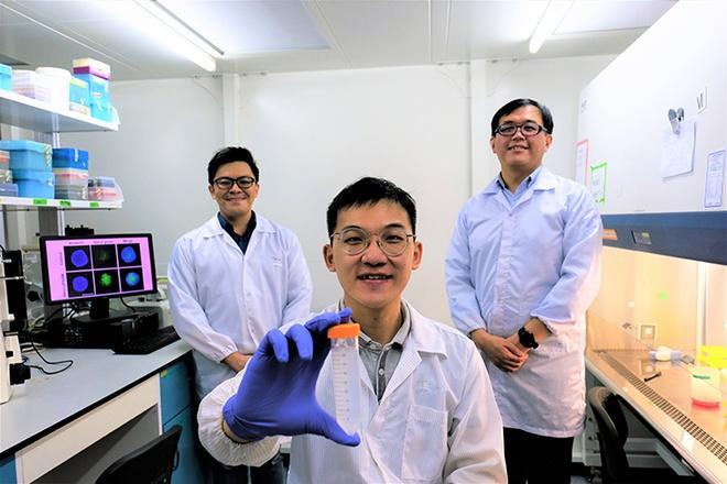 Nhóm tác giả tại Đại học Công nghệ Nanyang Singapore và công trình Nano-pPAAM mới phát hiện. Ảnh: NTU.