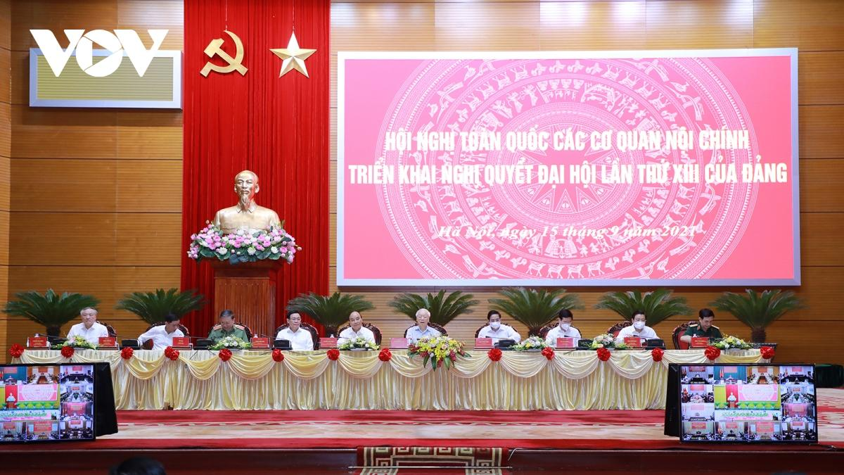 """Tổng Bí Thư Nguyễn Phú Trọng: Các cơ quan Nội chính phải thật sự là những """"thanh bảo kiếm sắc bén""""."""
